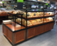 customized wood bakery bread display showcase shelf with lighting