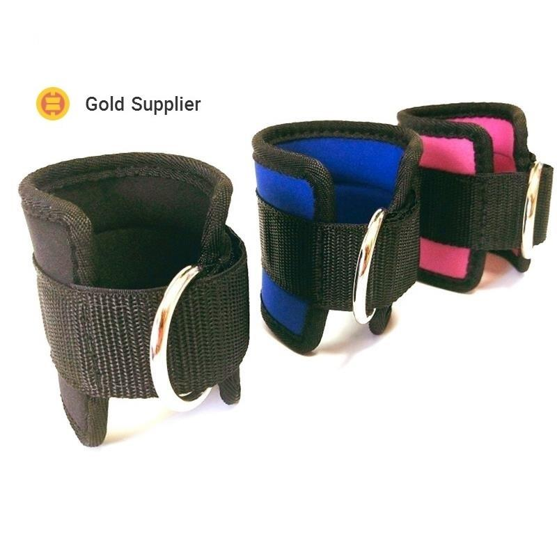 Neoprene Adjustable Ankle wrist cuff Straps with D-ring for resistance fitness band