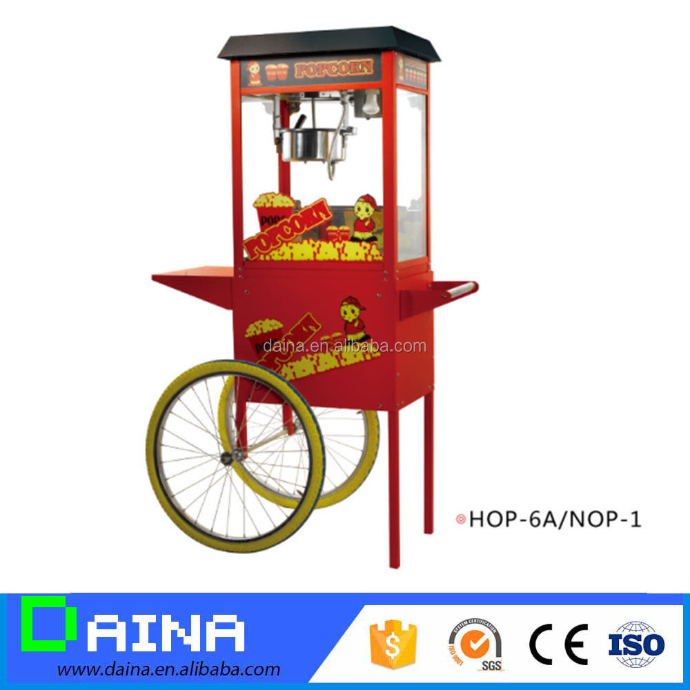 Top Quality flavored popcorn machine with cart make pop corn easy