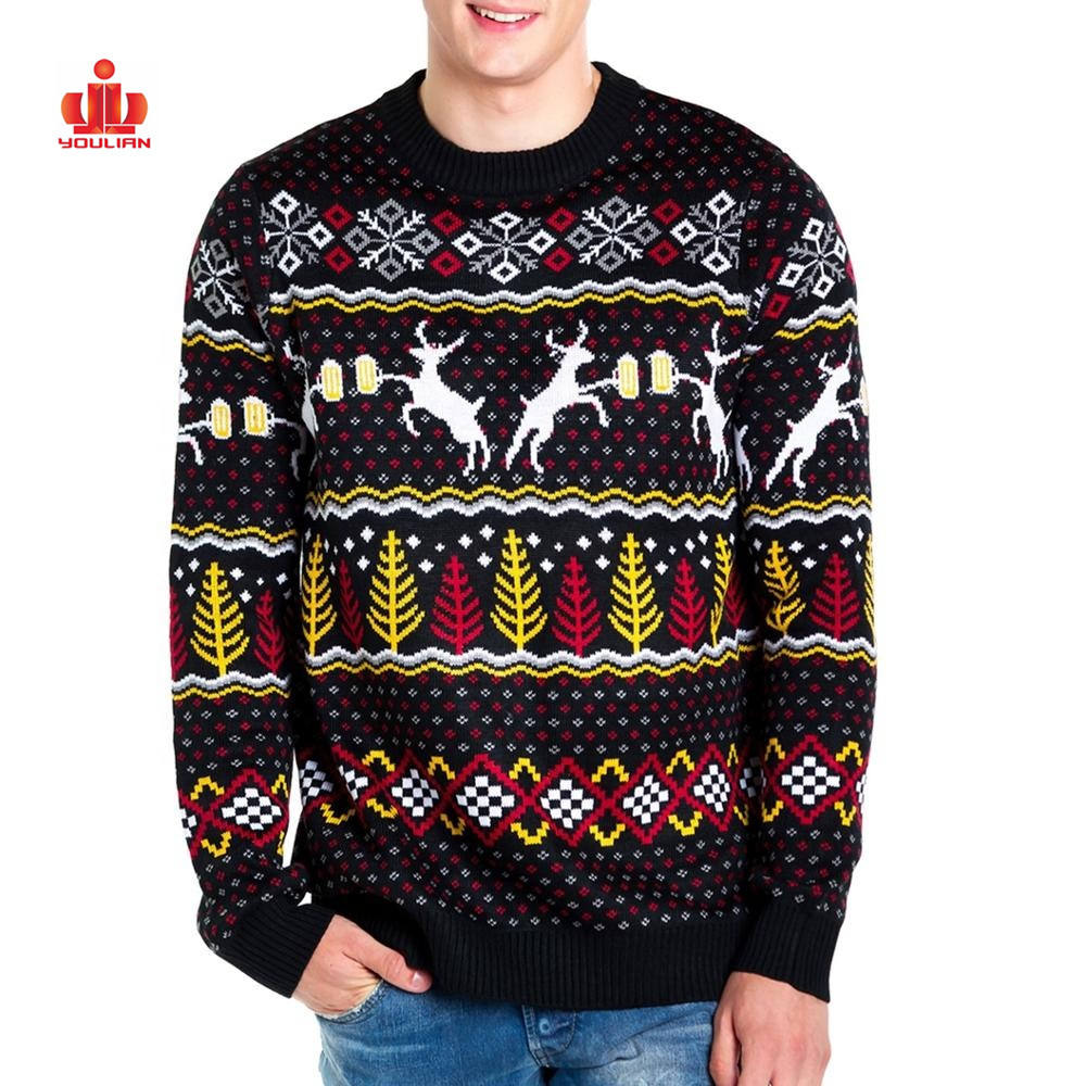 Unisex Adult Knitted Christmas Ugly Jumper Custom Men Christmas Sweater