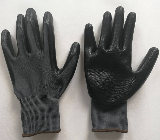 nitrile rubber coated hand gloves grey colour