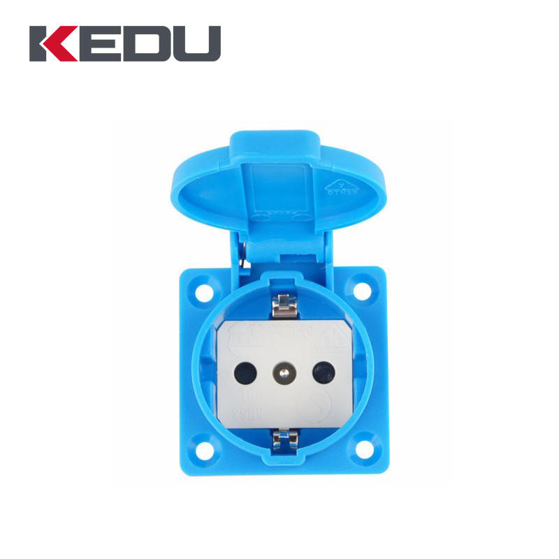 KEDU Bule Color 2 Pin Female Schuko Plug Insert 16A 250V PlugWith VDE,SEMKO Approved
