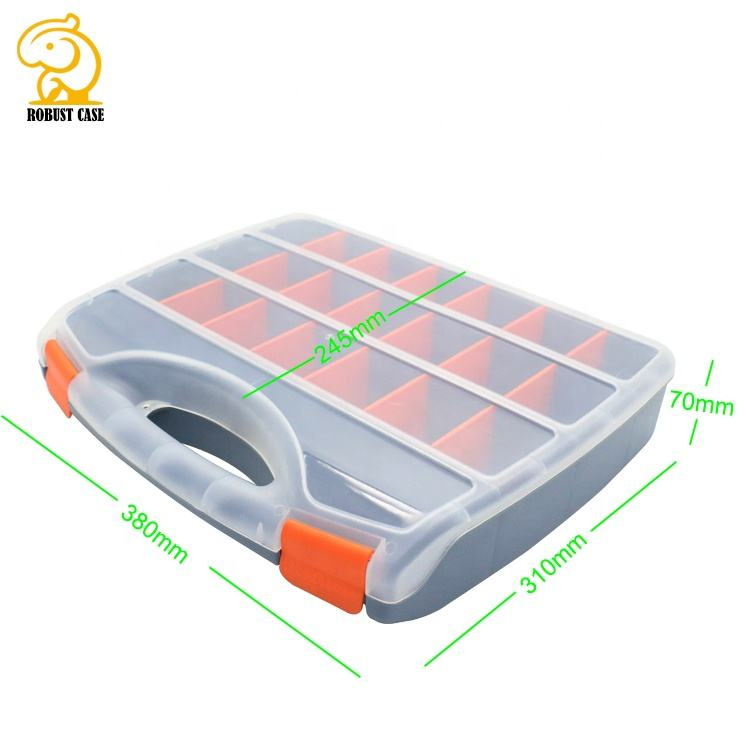 hard shell high quality customized PP plastic equipment case box with dividers 380*310*70mm