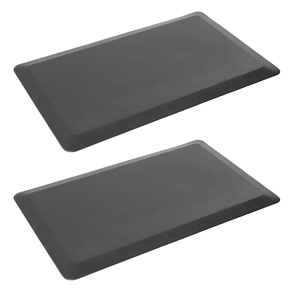 Anti-fatigue comfort pad for standing kitchen, thick, non-slip waterproof polyurethane mat, black