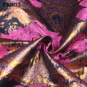 PARISS gold 3d brocade metallic woven jacquard custom dress floral glitter fabric