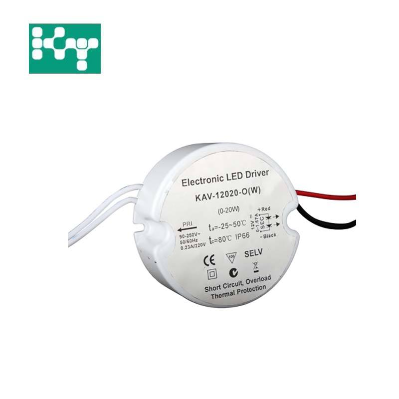 IP67 waterproof round shape 20w led driver power supply