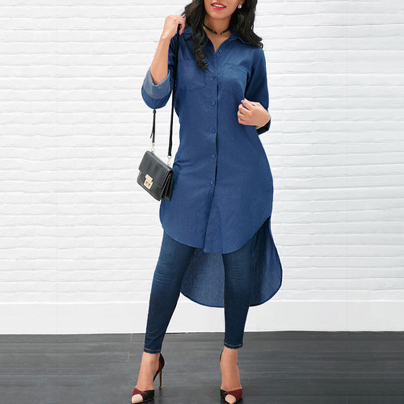 fashion ladies dresses long sleeve unique design short front long back denim one-piece dress