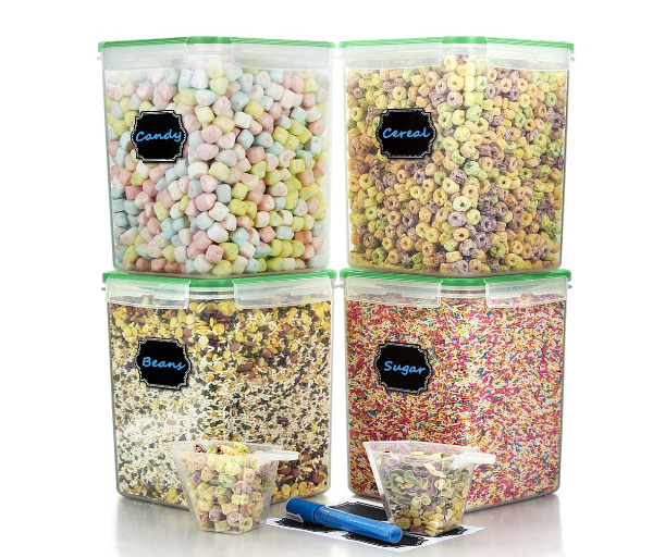 5.2L Set of 4 Food Grade Large Plastic Cereal Storage Container Airtight Dry Food Sugar/Flour / Chip/cornmeal Storage Container