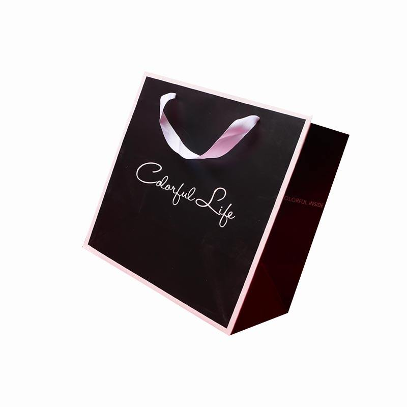 Custom Design Clothing Shopping Paper Bag with Logo Foil Ribbon Handle Bags for Gift Shoes Hair Jewelry T-shirt Cosmetic Packing