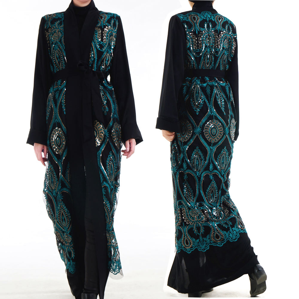 2019 Latest Abaya designs elegant pattern embroidered with sequins islamic clothing front open kimono abaya
