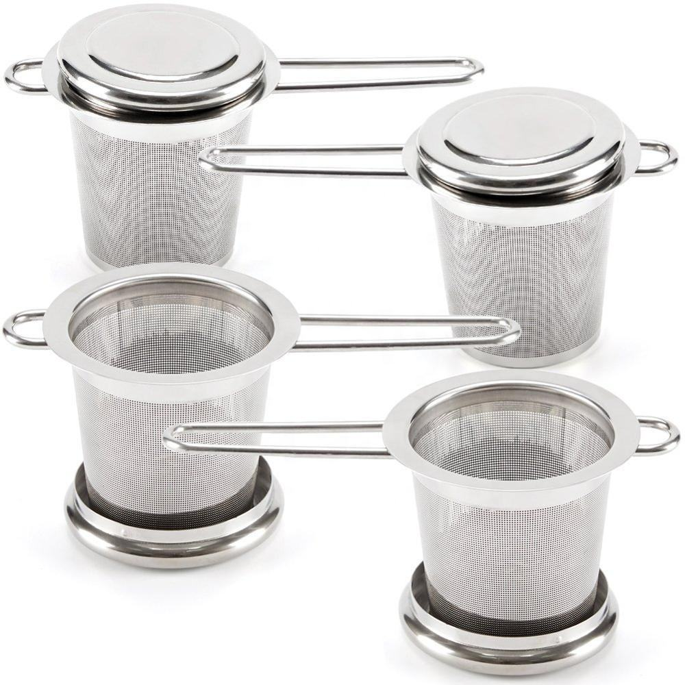Double fine mesh stainless steel loose leaf tea infuser strainer with handle