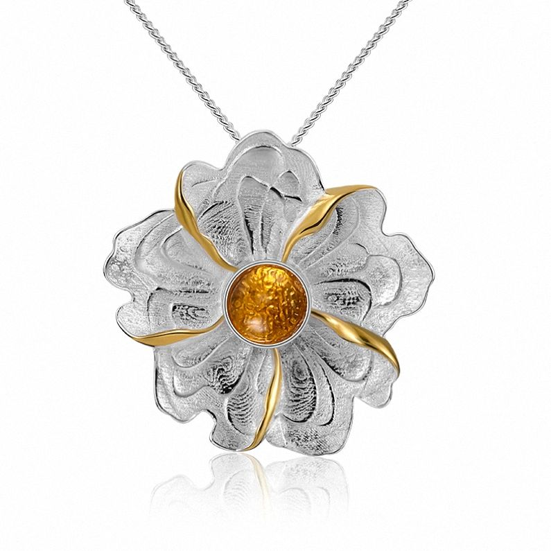 Flower design pendant natural yellow stone tourmaline for jewelry design