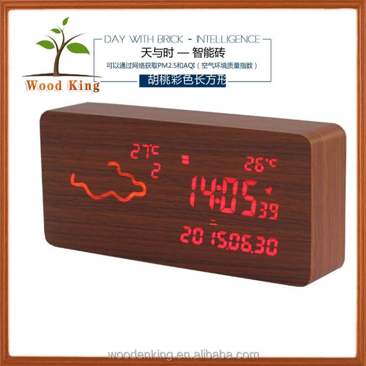 The Thermometer, And Week Display,Luminous, Weather Forecast, Day Month Year,Custom Logo Electronic Digital Led Clock Wood