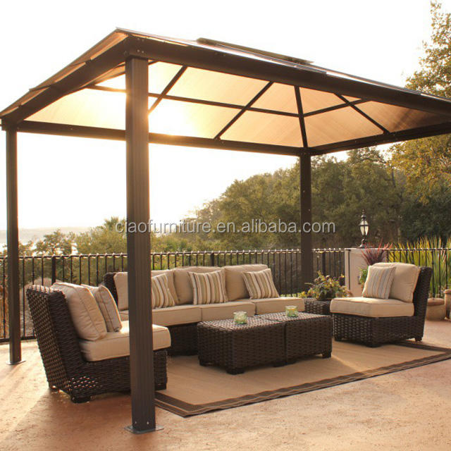 Leisure modern gazebo patio furniture rattan sectional sofa with pillow