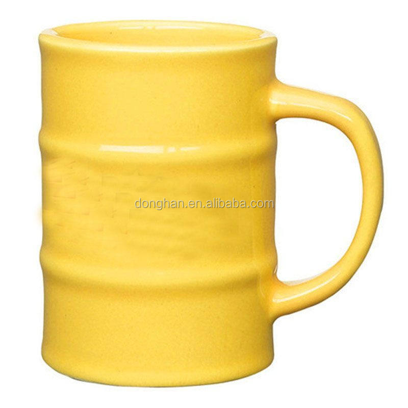yellow glaze ceramic oil drum shape mug for custom