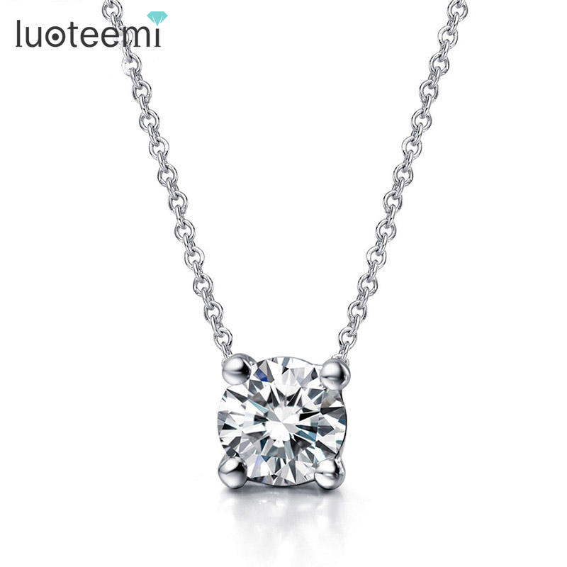LUOTEEMI Female OL Style Beautiful Rose Gold Plated 4 Prongs 7mm Round CZ Stone Pendant Necklace