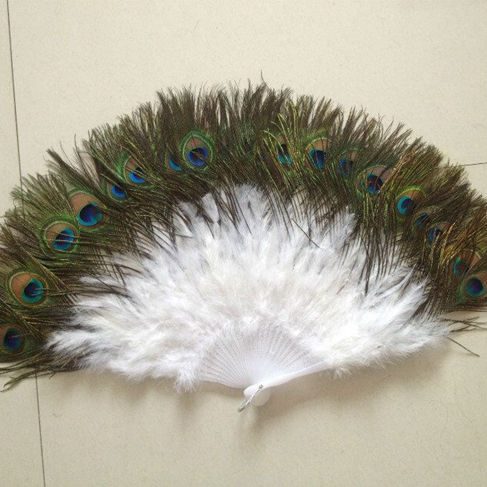 Hot Sale 28 Staves White Peacock Feather Fan Handmade Dancing Feather Fan