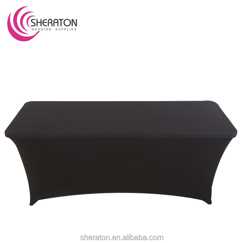 wholesale cheap black stretch lycra printed logo table cover / 6ft promotion spandex elastic rectangular fitted tablecloth