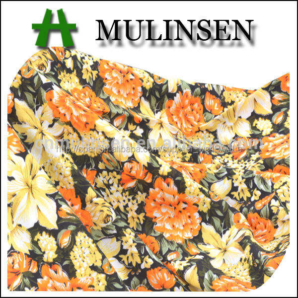 mulinsen textil tejido por ciento 100 lámina de poliéster impreso floral las mujeres ropa de lana de melocotón tela textil