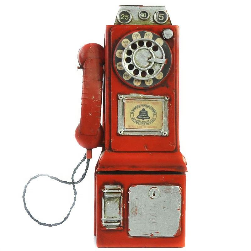 Antique Style Metal Telephone Model Retro Home Decoration Crafts Furnishing Articles