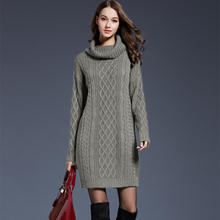 2019 new style long sleeve turndown high collar loose knitted woman dress sweater