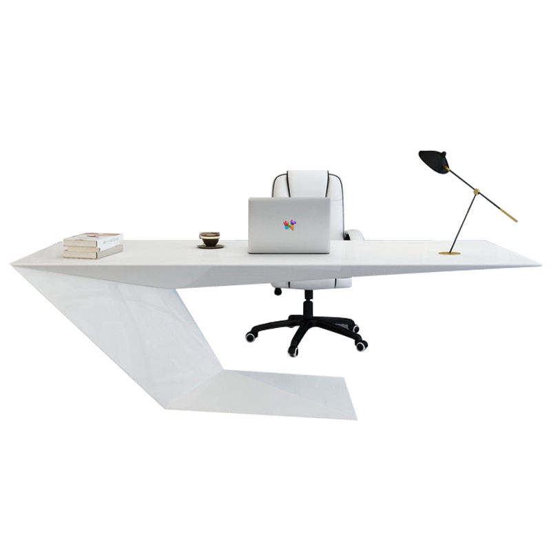 High Tech White Executive Office Desk Modern Writing Desk Mdf Reception Desk Office Boss Table