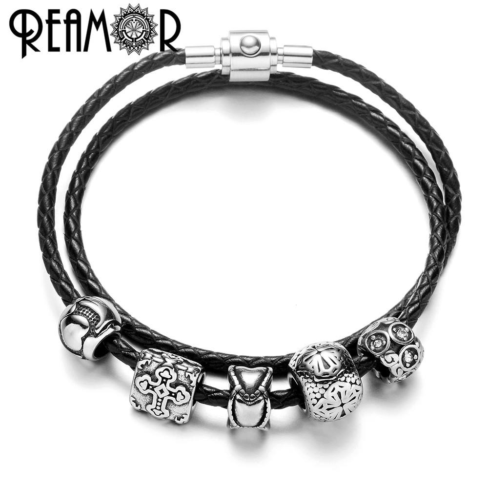 REAMOR Women Black Double Layers Genuine Leather 361l Stainless Steel Cross Bead Bracelet