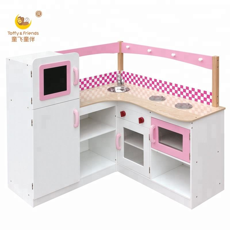 Toffy & Friends Wooden kids pretend play kitchen toy cabinet furniture