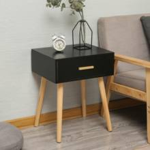 Modern black one drawer solid wood Nightstand for bedroom furniture