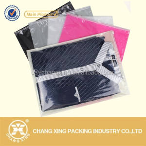 Zipper Garment Plastic Bag with clear window for T-Shirt/ garment/ clothes packing