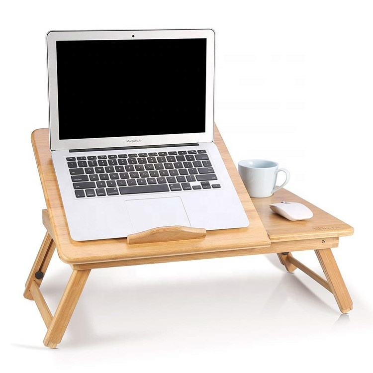 Bamboo Laptop Bed Desk Tray Folding Bed Desk Table Breakfast Serving Bed Tray with Drawer
