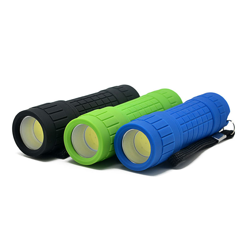 Portable Multicolor Baterai Kering 100 Lumen Tinggi Terang Mini Torch Light LED Flashlight 3 W COB Karet Plastik LED Torch cahaya