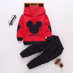 spring autumn new kids 2pcs sport suits fashion baby boys girls mickey hoodies sport suit Children clothing set