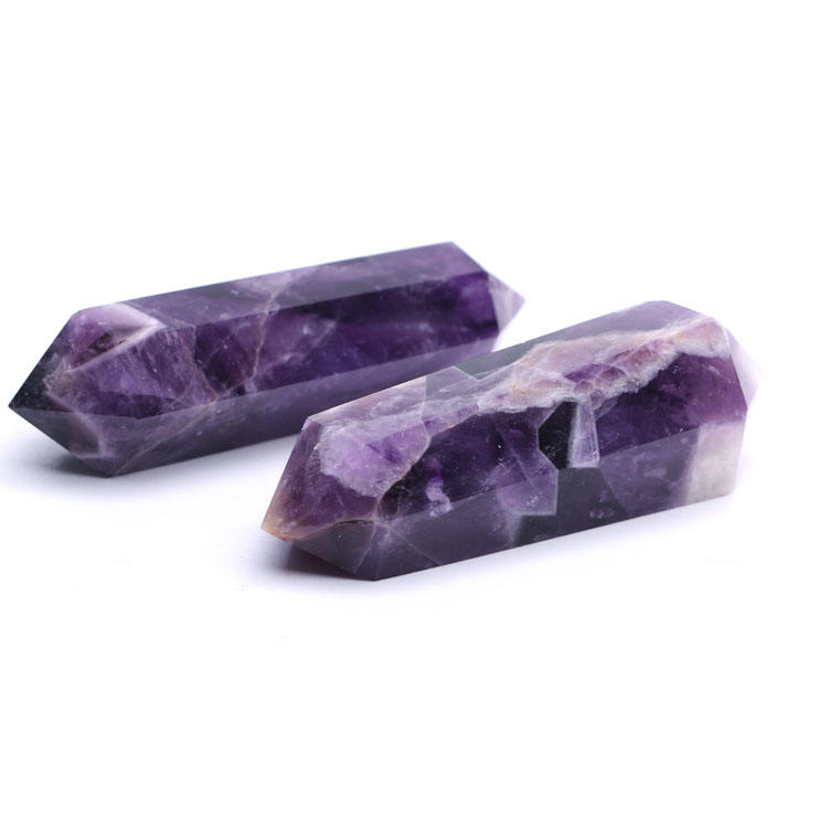 Wholesale Natural Double Pointed Dream Amethyst Crystal Obelisk Pointed Wand For Decorate