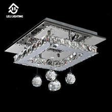 Decorative foyer flush mount square hallway crystal ceiling led light