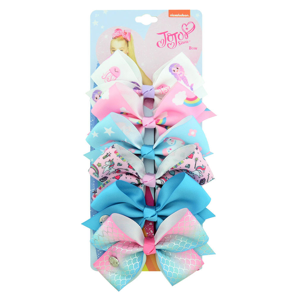 New jojo siwa kids bows sets hair band baby fabric hair bow Kids hair clips accessories