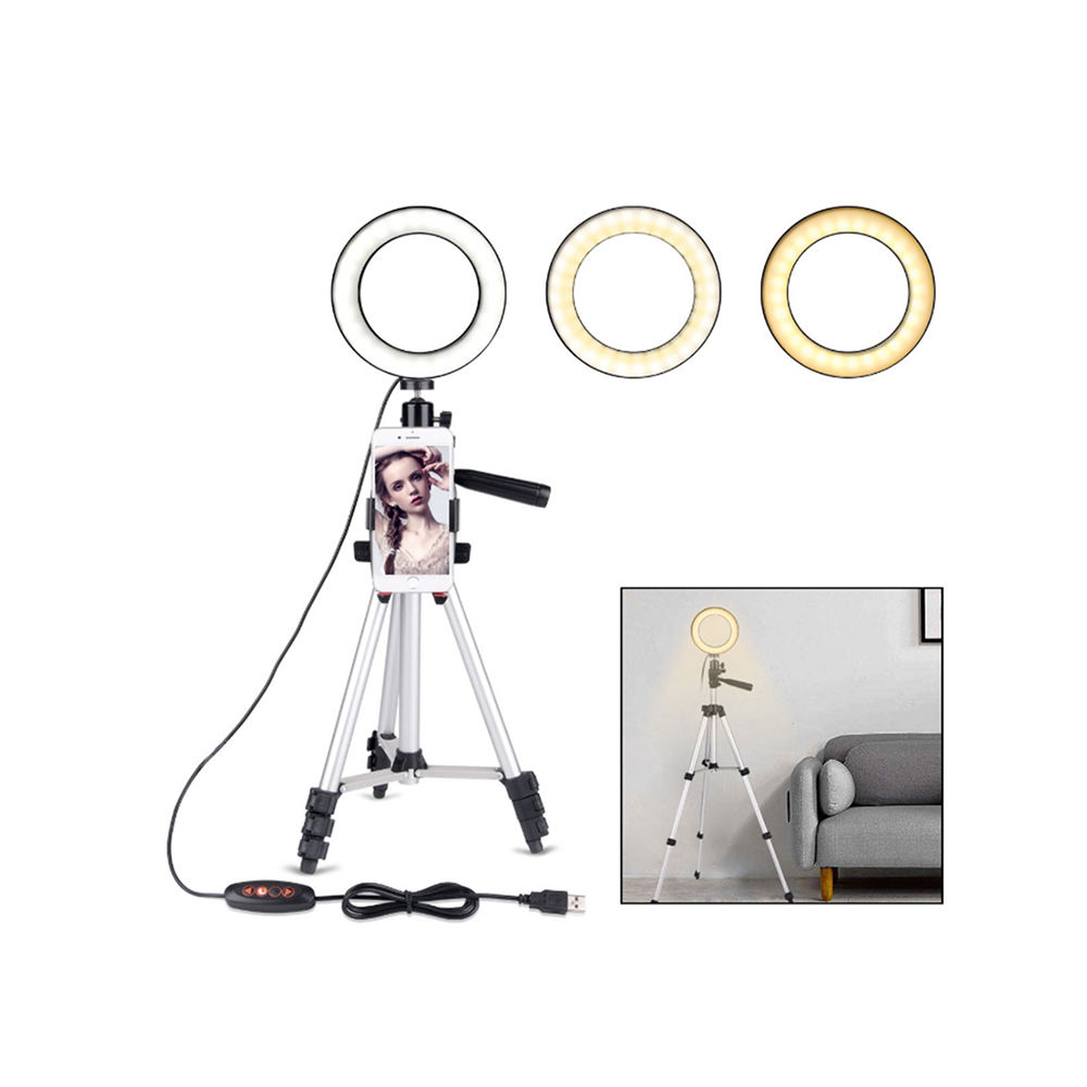 selfie Ring Light with Tripod Stand for Youtube Video and Makeup, Mini LED Camera Light with Cell Phone Holder 3 Light Models