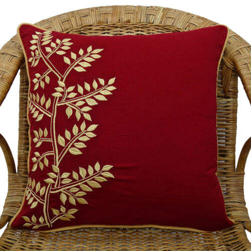Cotton Cushion Cover Royal Blue Pillow Cover Leaf Embroidered Square Pillow Case,Outdoor Cushion Cover Woven/