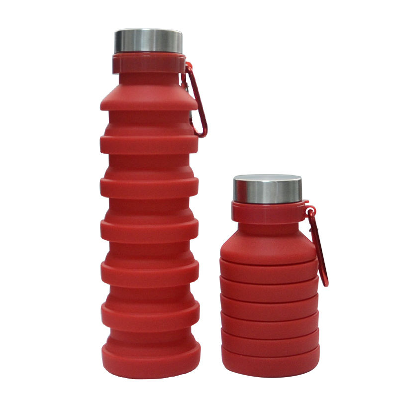 Popular Red Color Products 2020 Ecofriendly Silicone Bottle Water Foldable Collapsible Reusable Water Bottle
