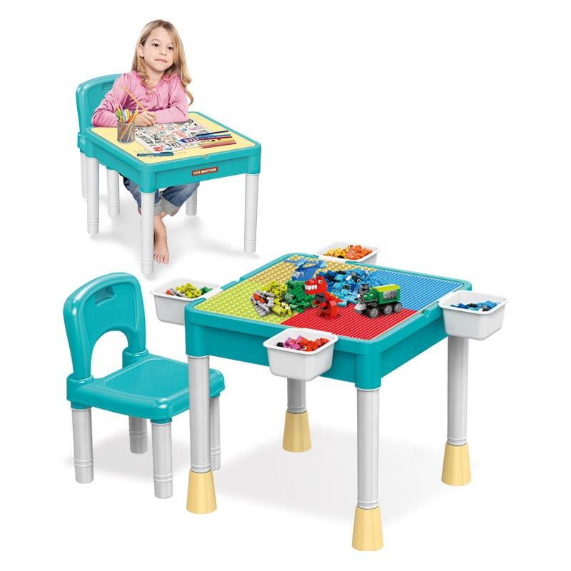 Kids Education Toy Compatible Building Blocks Activity Table Chair Set With Storage Box