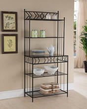 Black Metal Furniture With Black Finish 5-Tier Bakers Storage Rack Floor Stand
