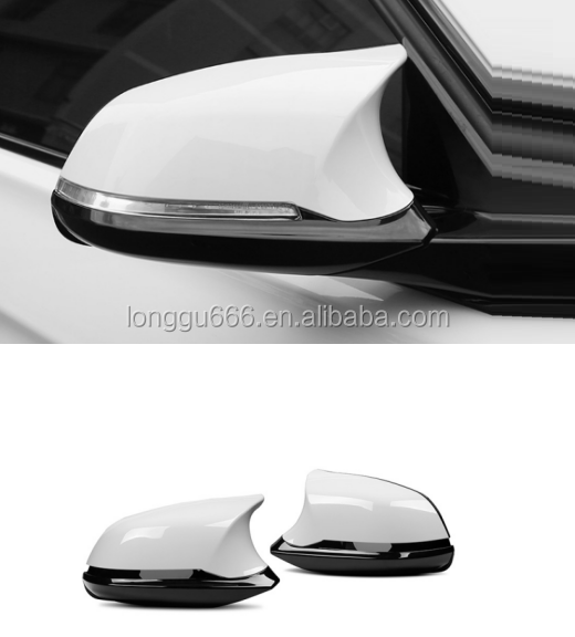 2Pcs Rear View Mirror Cover Gloss White Mirror Caps Shell For BMW X1 Series F20 F30 F32
