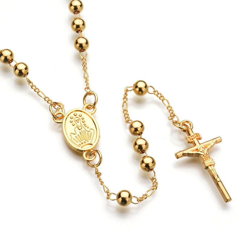 Luxury Silver Gold Plated Rosary Beads Cross Jesus Pendant Necklace Long Chain For Prayer Jewelry