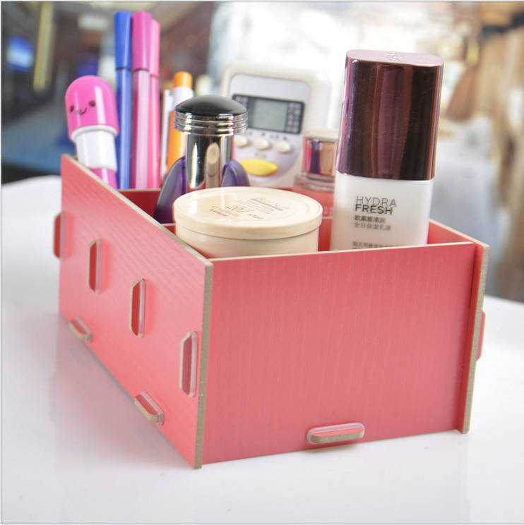 Wholesale Multi-color DIY Wood Professional Cute Make Up Case Organizer