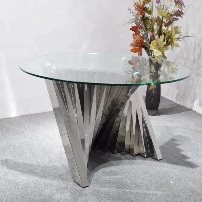 12mm thick tempered glass dining table base round table