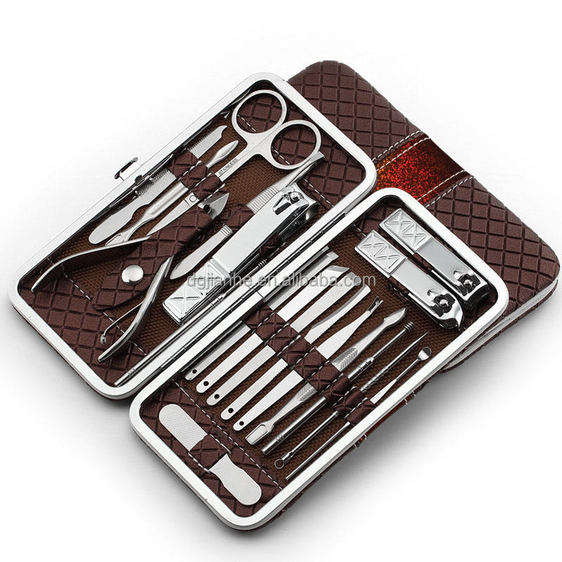 pu leather packaging 18 pcs nail clipper set stainless steel