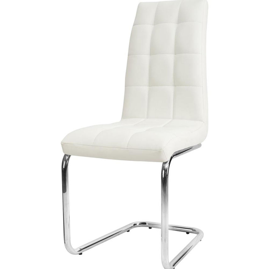 Luxury Modern Stackable white PU leather metal leg chesterfield dinning kitchen dining chair with chromed leg for restaurant