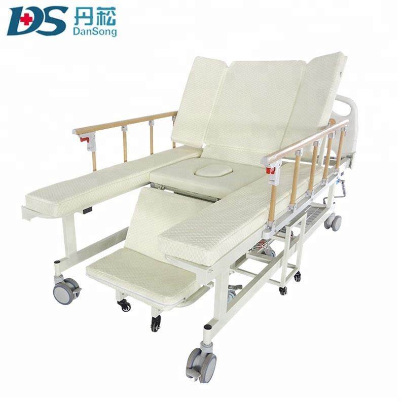 Cheap 5 function manual adjustable elderly home nursing medical hospital wheelchair cum bed with toilet