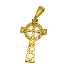 Olivia Retro Style Mens 18k Gold Irish Wales Celtic Cross Necklace Pendant Stainless Steel Celtic Jewelry