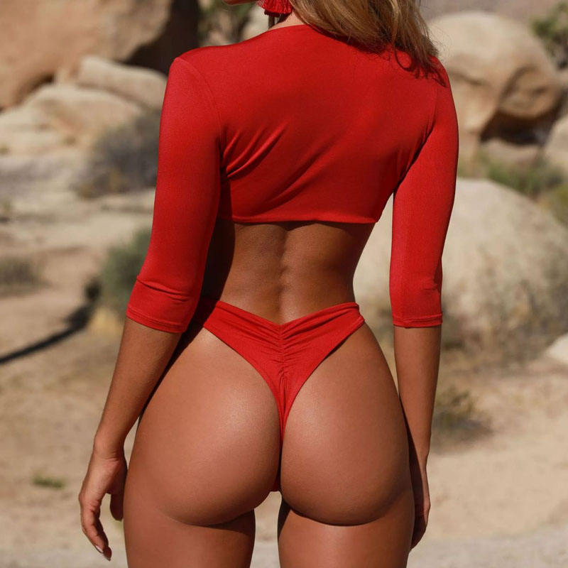 Manufacturer long sleeve 2021 red Bikini Sexy Women scrunch bottom bikini
